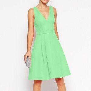 ASOS Premium Mesh Plunge Neck Debutante Dress